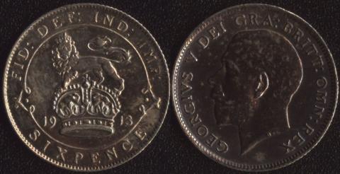 Великобритания 6 пенсов 1913