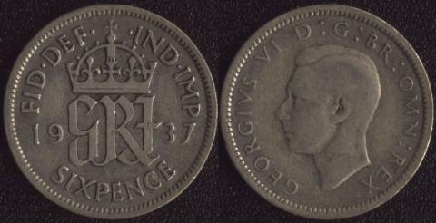 Великобритания 6 пенсов 1937
