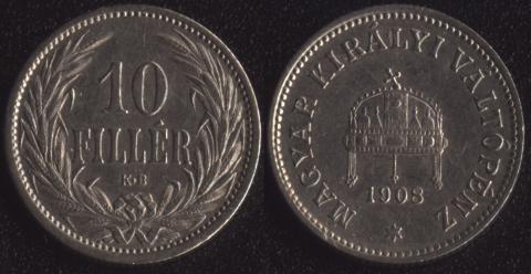 Венгрия 10 филлеров 1908