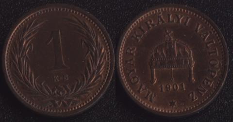 Венгрия 1 филлер 1901