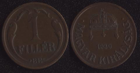 Венгрия 1 филлер 1930