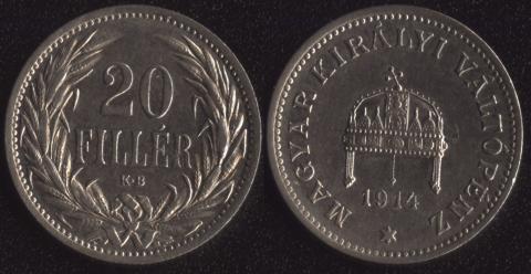 Венгрия 20 филлеров 1914
