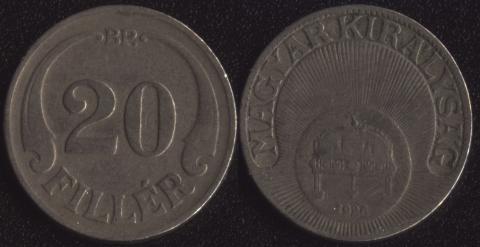 Венгрия 20 филлеров 1926