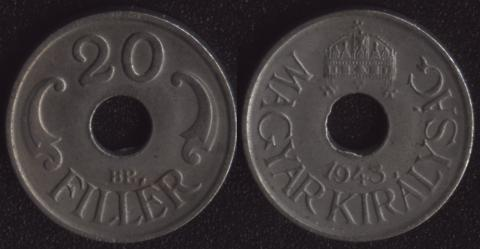 Венгрия 20 филлеров 1943