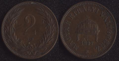 Венгрия 2 филлера 1897