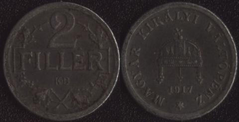 Венгрия 2 филлера 1917