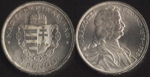 Венгрия 2 пенго 1935 Ракоци