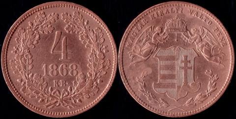 Венгрия 4 крейцера 1868