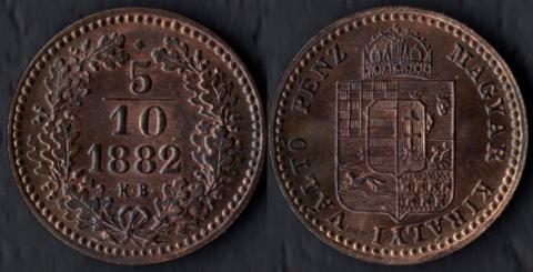 Венгрия 5/10 крейцера 1882
