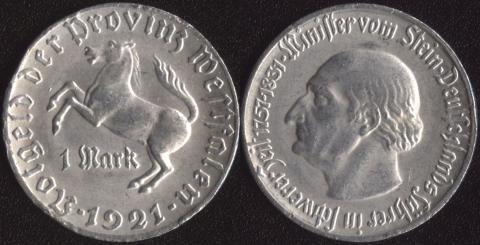 Вестфалия 1 марка 1921