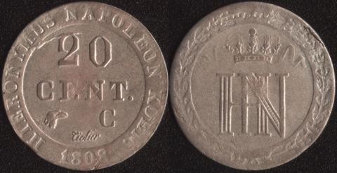 Вестфалия 20 сантим 1808