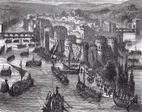 Осада Парижа викингами в 845 году, рисунок XIX век