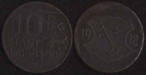 Вормс 10 пфеннигов 1918 (звезда)