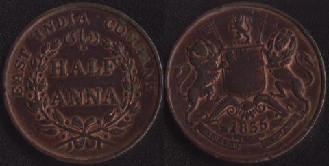 Восточно-Индская компания 1/2 анна 1835