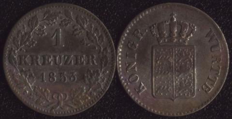 Вюртемберг 1 крейцер 1853