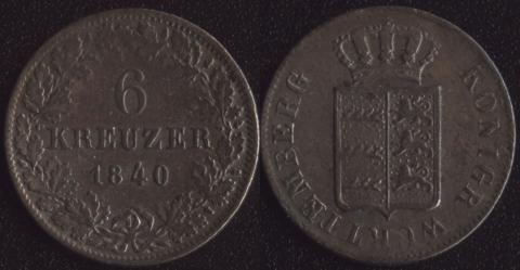 Вюртемберг 6 крейцеров 1840