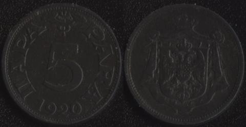 Югославия 5 пара 1920
