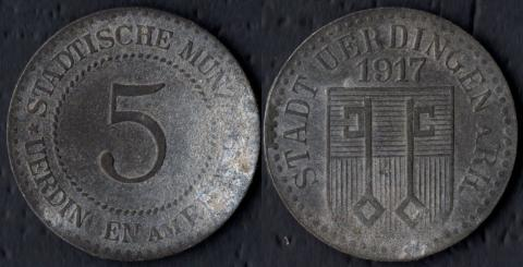 Юрдинген 5 пфеннигов 1917