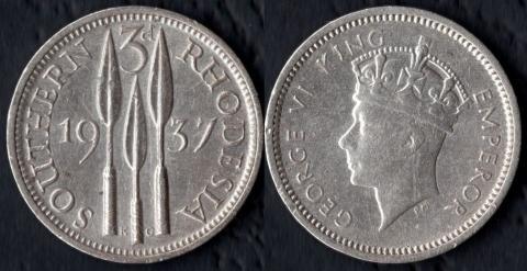 Южная Родезия 3 пенса 1937