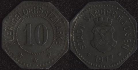 Зангерхаузен 10 пфеннигов 1917