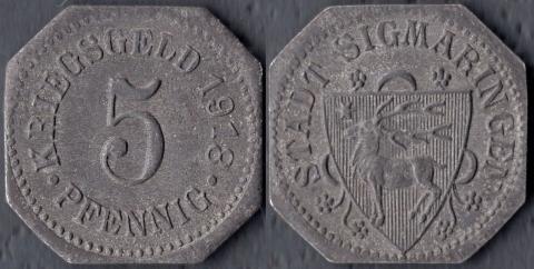 Зигмаринген 5 пфеннигов 1918
