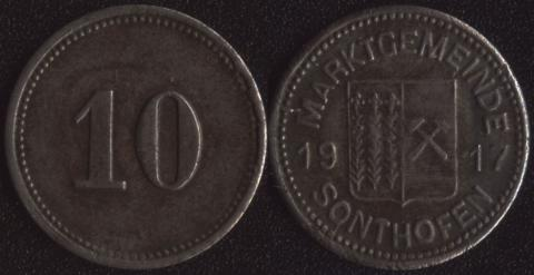Зонтхофен 10 пфеннигов 1917
